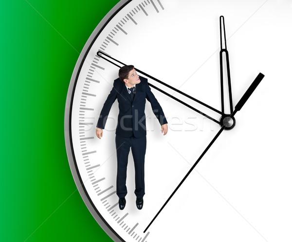 Biznesmen arrow zegar odizolowany czarny pracy Zdjęcia stock © zeffss