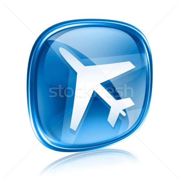Foto stock: Informação · ícone · azul · vidro · isolado · branco