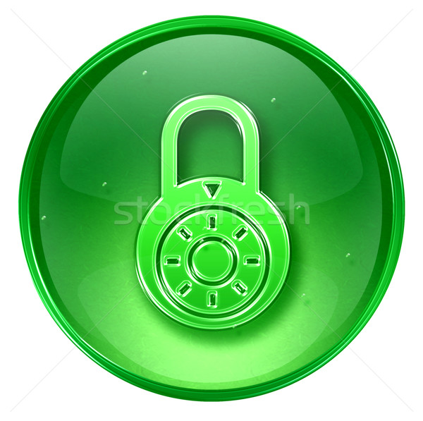 Lock off, icon green, isolated on white background. Stock photo © zeffss