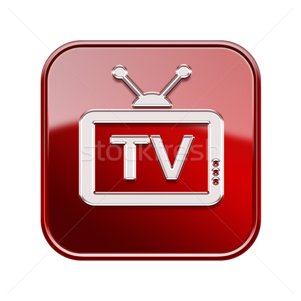 TV icon glossy red, isolated on white background Stock photo © zeffss