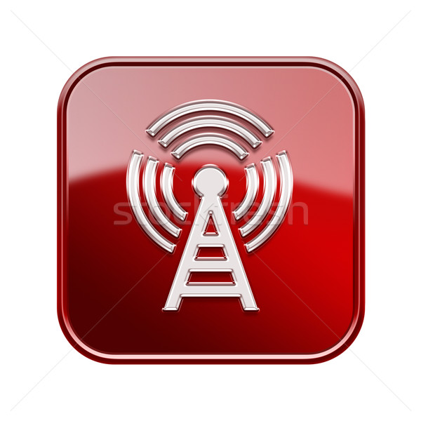 WI-FI tower icon glossy red, isolated on white background Stock photo © zeffss