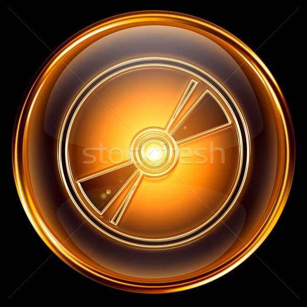 Compact disc icona isolato nero musica Foto d'archivio © zeffss