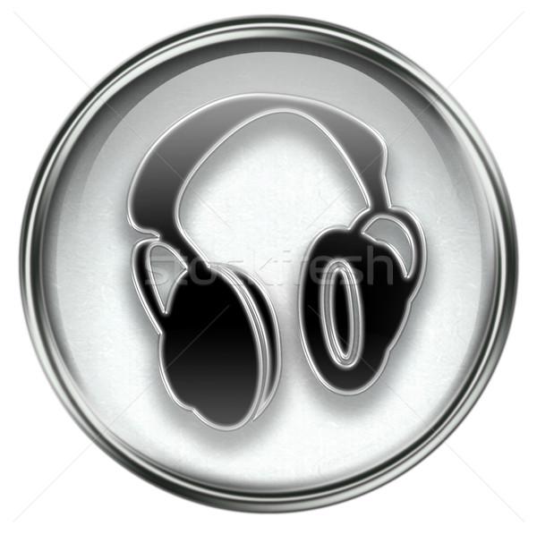 Kulaklık ikon gri yalıtılmış beyaz Internet Stok fotoğraf © zeffss