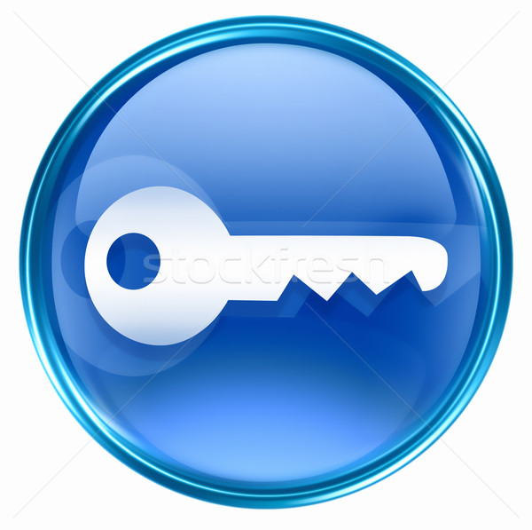 Stock photo: Key icon blue, isolated on white background