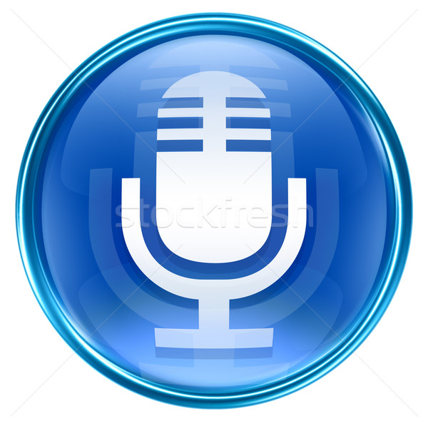 Stock photo: Microphone icon blue, isolated on white background