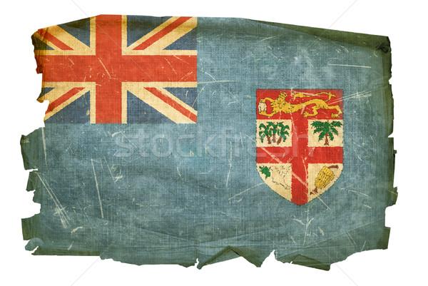 Fidzsi-szigetek zászló öreg izolált fehér festmény Stock fotó © zeffss
