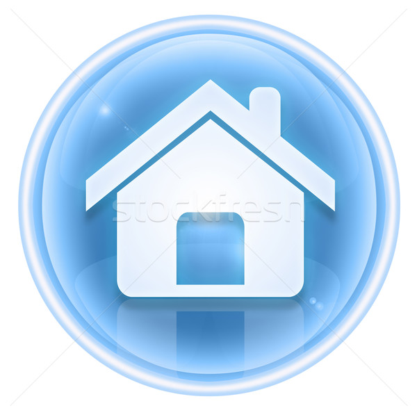 Stock fotó: Otthon · ikon · jég · izolált · fehér · ház