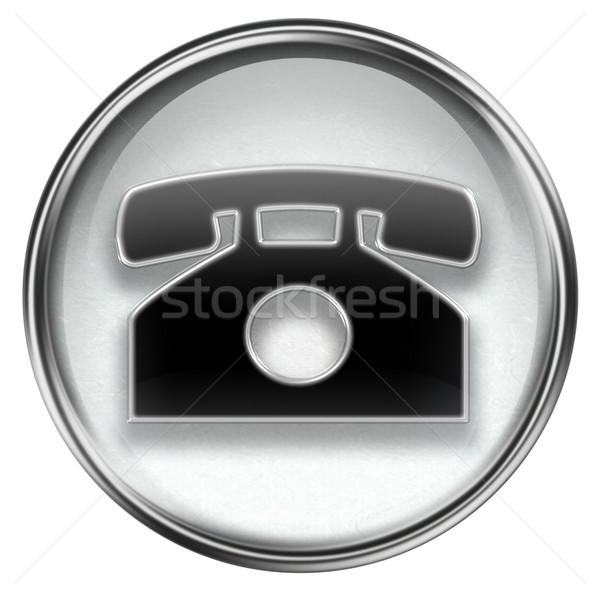 Сток-фото: телефон · икона · серый · изолированный · белый · интернет