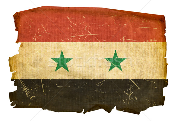 Syrian Flag old, isolated on white background Stock photo © zeffss