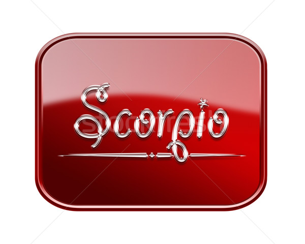 Scorpio zodiac icon red glossy, isolated on white background Stock photo © zeffss