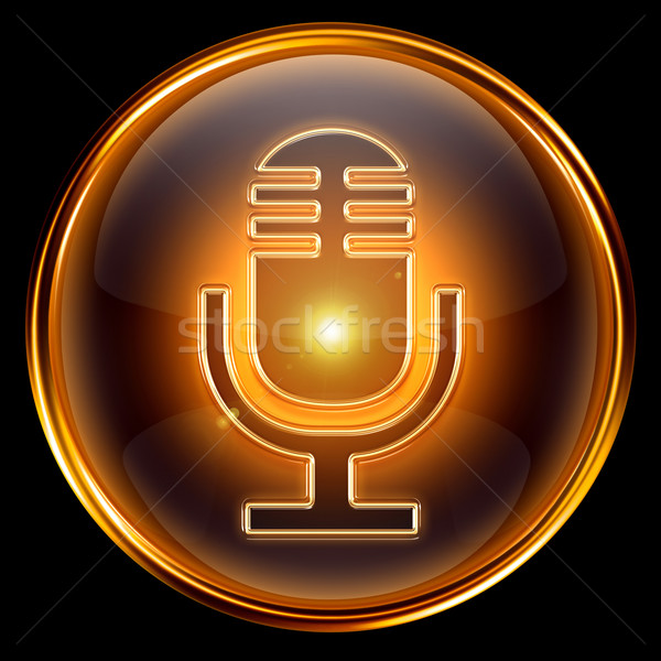 Microphone icon golden, isolated on black background. Stock photo © zeffss