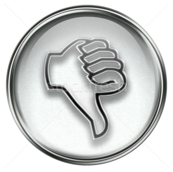 Hüvelykujj lefelé ikon szürke izolált fehér Stock fotó © zeffss