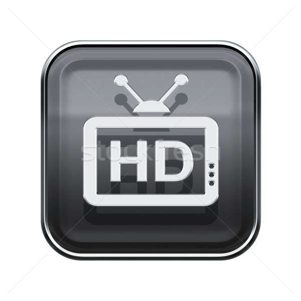 HD icon glossy grey, isolated on white background Stock photo © zeffss