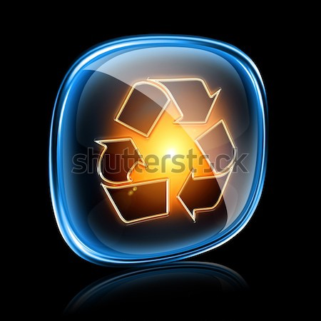 Recycling symbol icon blue, isolated on black background. Stock photo © zeffss