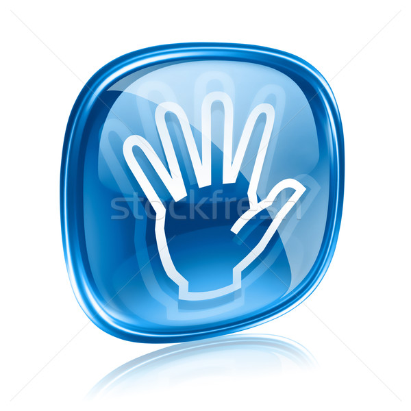 hand icon blue glass, isolated on white background. Stock photo © zeffss