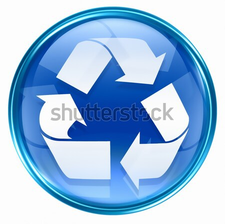 Recycling symbol icon blue, isolated on white background. Stock photo © zeffss