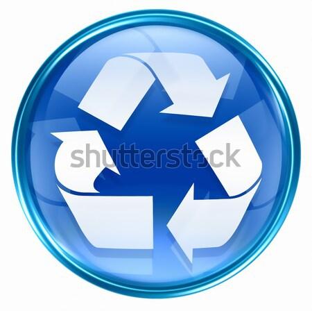 Stock fotó: újrahasznosítás · szimbólum · ikon · kék · izolált · fehér