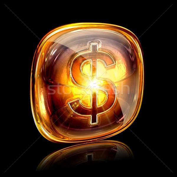 Dólar ícone âmbar isolado preto negócio Foto stock © zeffss