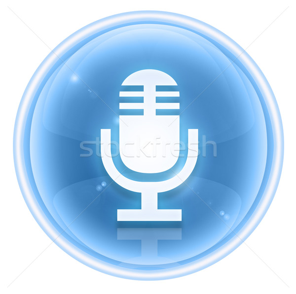 Microphone icon ice, isolated on white background Stock photo © zeffss