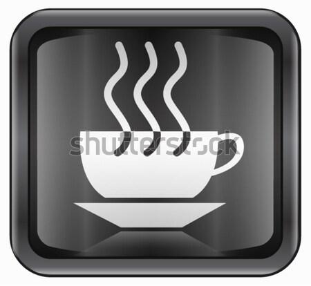 Foto d'archivio: Tazza · di · caffè · icona · buio · blu · isolato · caffè · nero