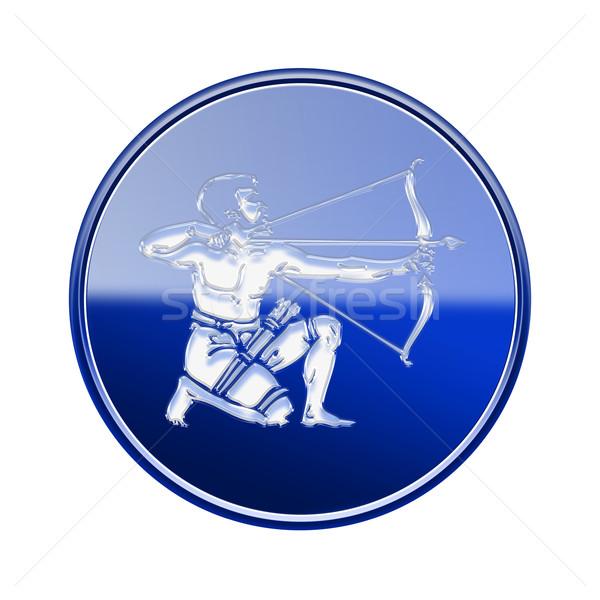 Stock photo: Sagittarius zodiac icon blue, isolated on white background