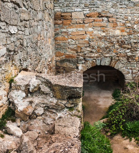 The medieval ruins of the fortress. The passage in the form of a Stock photo © zeffss
