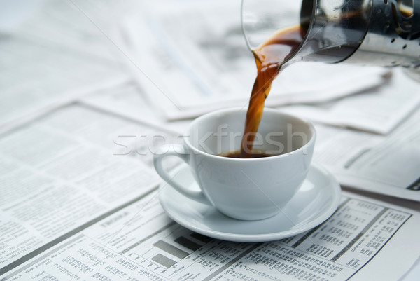 ストックフォト: コーヒー · 新聞 · 作業 · ニュース · 表 · 成功