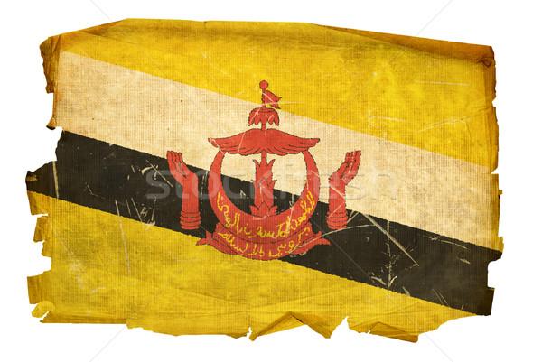 Brunei vlag oude geïsoleerd witte schilderij Stockfoto © zeffss