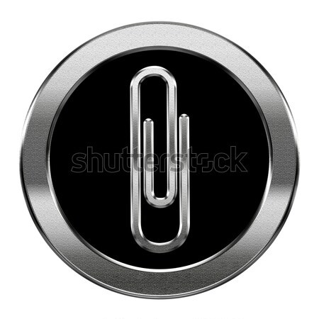 Paperclip icon silver, isolated on white background Stock photo © zeffss