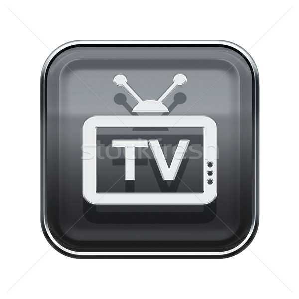 TV icon glossy grey, isolated on white background Stock photo © zeffss