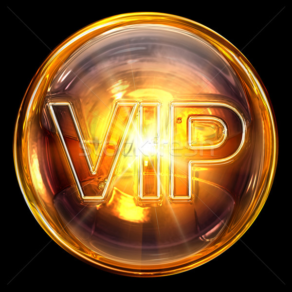 Stock photo: Vip icon fire, isolated on black background
