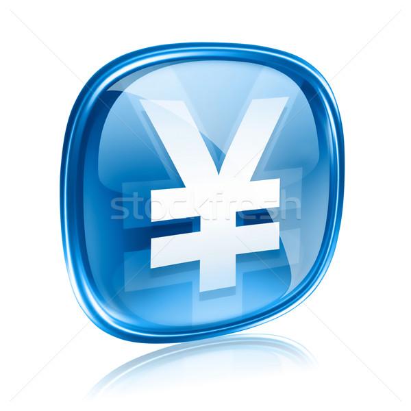 Jen ikona niebieski szkła odizolowany biały Zdjęcia stock © zeffss