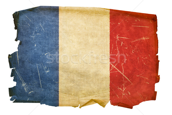 Stock fotó: Franciaország · zászló · öreg · izolált · fehér · papír
