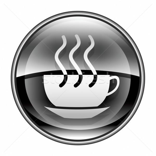Foto stock: Taza · de · café · icono · negro · aislado · blanco · agua