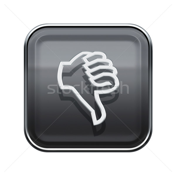 Hüvelykujj lefelé ikon fényes szürke izolált Stock fotó © zeffss