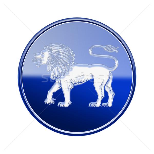 Oroszlán állatöv ikon kék izolált fehér Stock fotó © zeffss