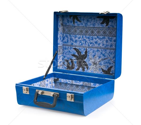 ストックフォト: オープン · 青 · スーツケース · 孤立した · 白 · テクスチャ