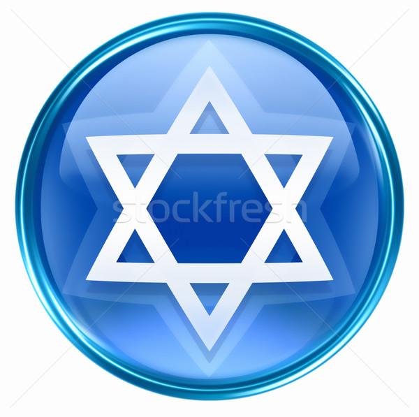 David star icon blue, isolated on white background. Stock photo © zeffss