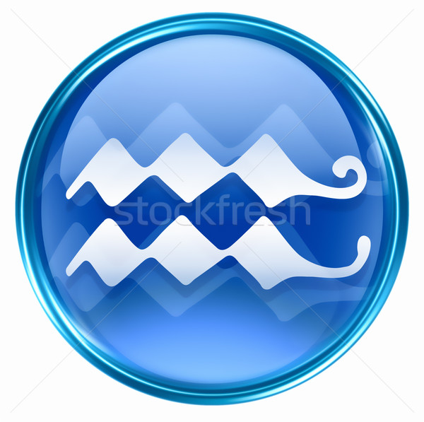 Aquarius zodiac button icon, isolated on white background. Stock photo © zeffss