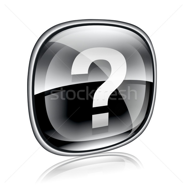 Help icon black glass, isolated on white background Stock photo © zeffss