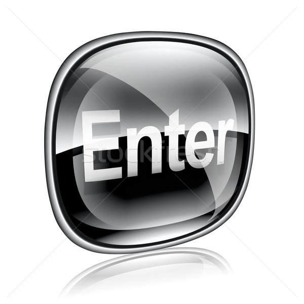 Belépés ikon fekete üveg izolált fehér Stock fotó © zeffss