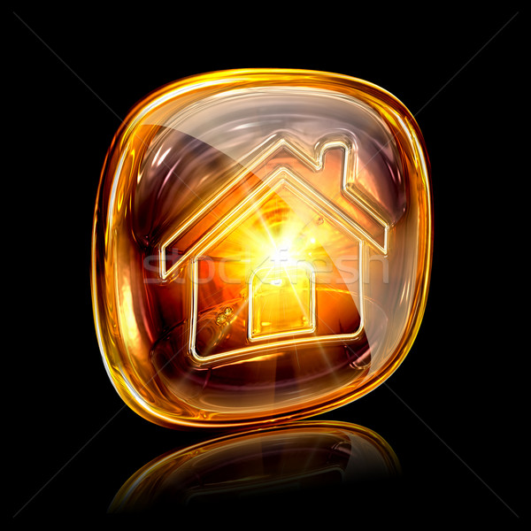 House icon amber, isolated on black background Stock photo © zeffss