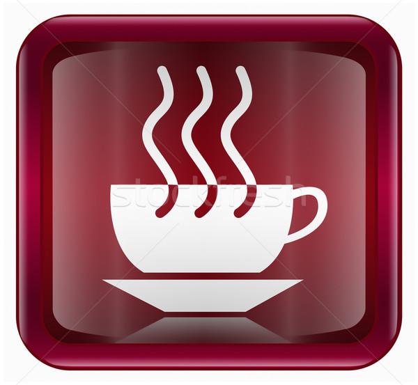 Сток-фото: чашку · кофе · икона · темно · красный · изолированный · белый