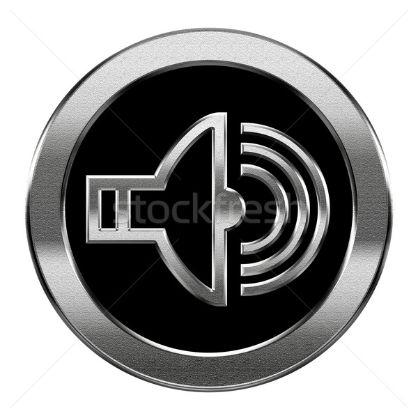 speaker icon silver, isolated on white background. Stock photo © zeffss
