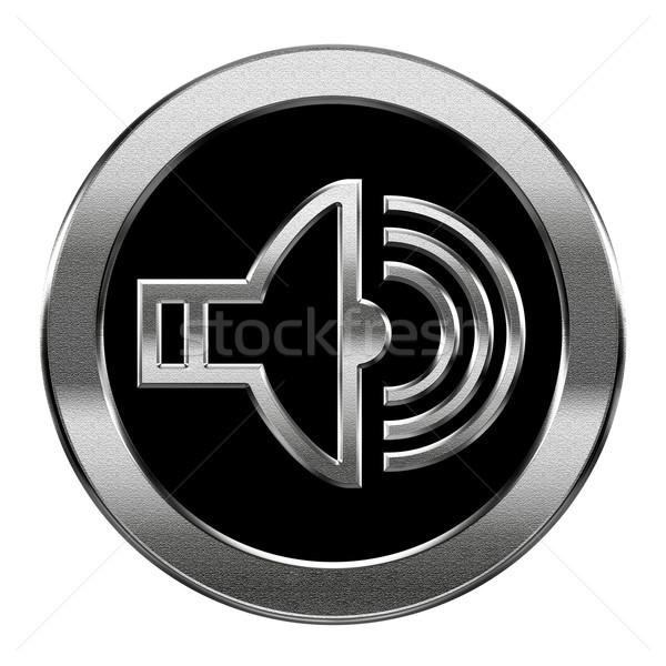 Hangszóró ikon ezüst izolált fehér zene Stock fotó © zeffss