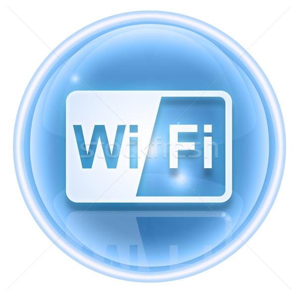 Wifi icona ghiaccio isolato bianco computer Foto d'archivio © zeffss