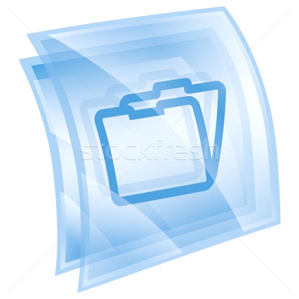 Map icon Blauw geïsoleerd witte papier Stockfoto © zeffss
