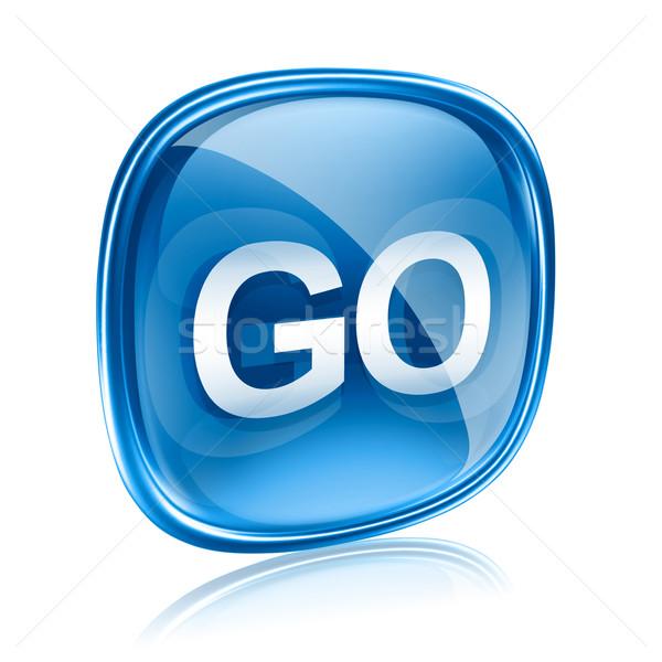 GO icon glass blue, isolated on white background Stock photo © zeffss
