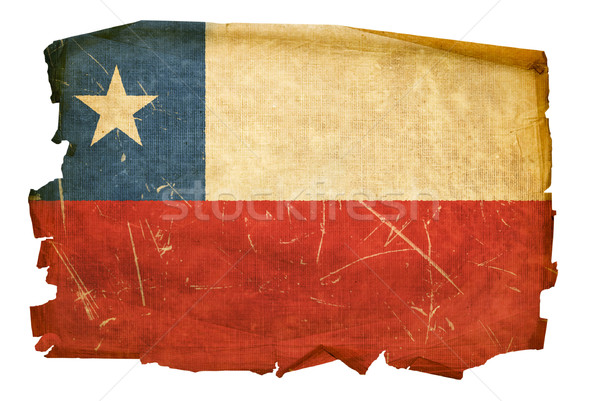 Chile Flag old, isolated on white background. Stock photo © zeffss