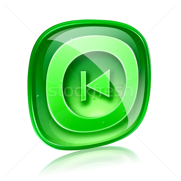 Rewind Back icon green glass, isolated on white background.  Stock photo © zeffss